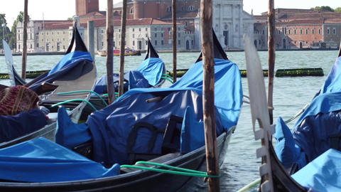 Moored Venetian gondolas swaying against cityscape. Venice, Italy Footage