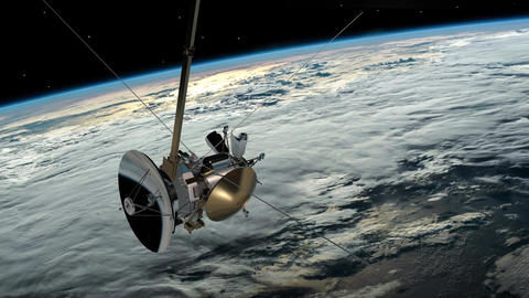 Satellite similar with the Cassini orbiting planet earth.... Stock Video Footage
