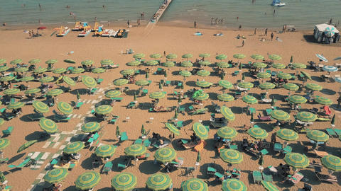 Crowded sandy beach in Lido di Jesolo Footage
