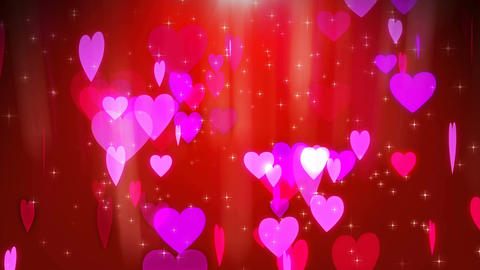 Love hearts spinning with red background Animation