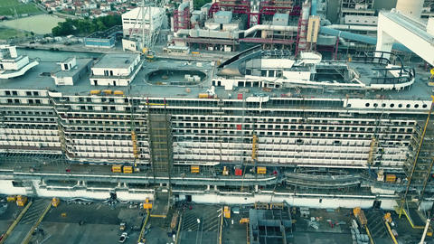 Big cruise ship under construction at the shipyard Footage