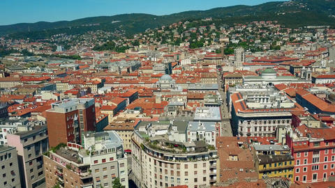 Trieste city rooftops Italy Footage