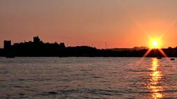 Turkey the Aegean Sea Bodrum 043 knight castle with dreamlike sunset Footage
