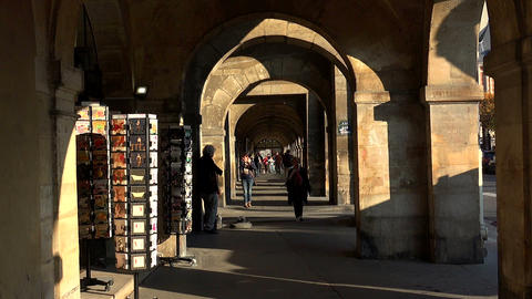 Arcade on the Place des Vosges in Paris. France Footage