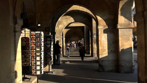 Arcade on the Place des Vosges in Paris. France Footage
