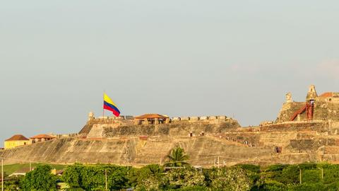 Cartagena Castle Time Lapse stock footage