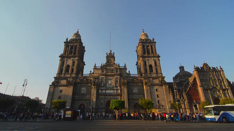 Activity around Mexico City's Cathedral Footage