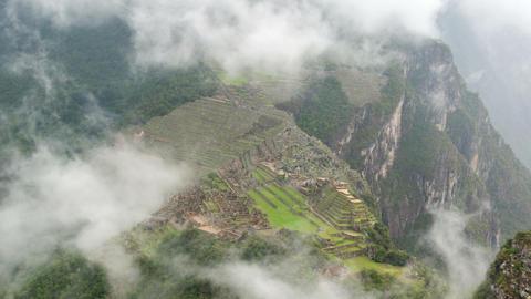 Machu Picchu in Fog Time Lapse Footage