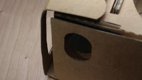Cardboard Glasses For Virtual Reality Smartphone Accessories On Rotating Table 2 ภาพวิดีโอ