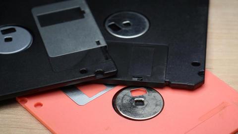 Three Floppy Discs On Rotating Table Footage