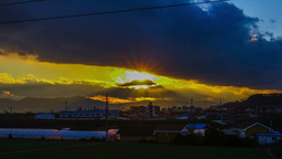 Beautiful time lapse shot at moving sun with clouds behind drammatic shining sun Footage