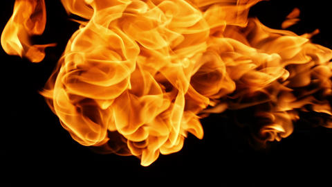 Fire on a black background coming from the right side Live Action