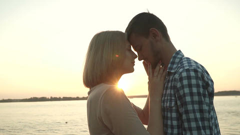 Loving couple at sunset Footage