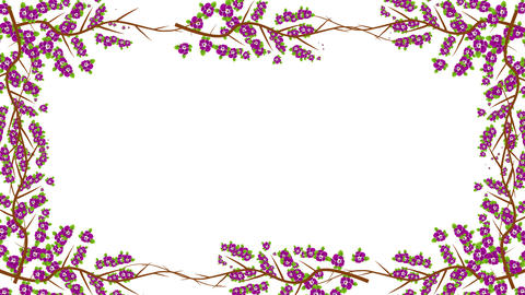 Branches and Purple Flowers Growing into a Frame in Alpha Channel Image