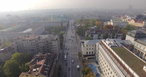 European corporate big city boulevard aerial 4K UHD 2160p Footage