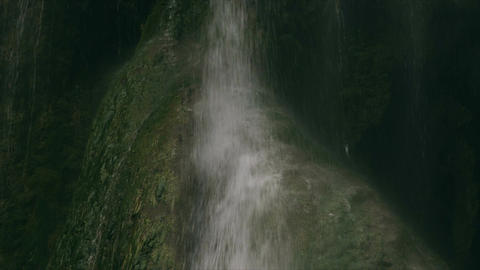 Waterfall in cave slow motion close up, nature, phenomenon Live Action