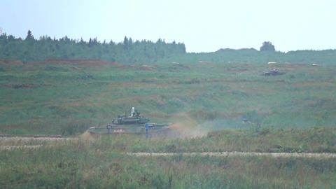 MOSCOW REGION, RUSSIA - AUGUST 25, 2017. Slow motion shot of moving Russian army Footage