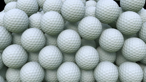 Multiple golf balls falling down, alpha matte for easy background change Footage