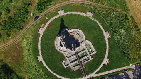 Old Christian Temple Ruins top view aerial 4K Footage