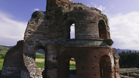 Ancient Christian Roman church temple ruins - aerial footage Footage