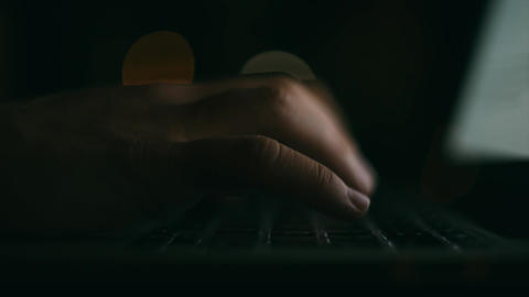 Hacker working at night, hacking, developer, freelancer, programmer, it Footage