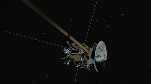 Satellite similar with the Cassini rotating. Seamless looping Footage