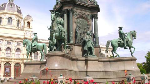 VIENNA, AUSTRIA - AUGUST 12, 2017. Empress Maria Theresien Platz monument Footage