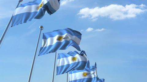 Row of waving flags of Argentina agaist blue sky, seamless loop Footage
