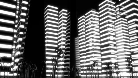 Night scene of night Metropolis. Loopable. Black and white Animation