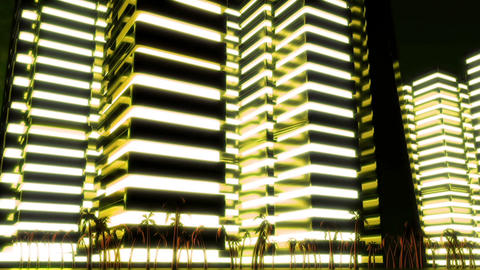 Night scene of night Metropolis. Loopable. Yellow Animation