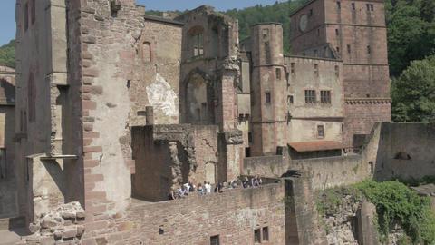 Tourists sightseeing in Heidelberg castle Footage