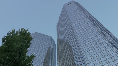 High-rise skyscraper business corporate bank towers - bottom-view Footage