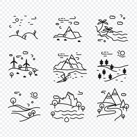 Line eco Vector icons nature Foto