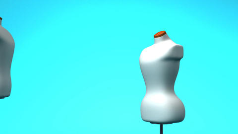 Display Mannequins On Blue Background Animation