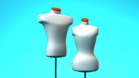 Display Mannequins On Blue Background Stock Video Footage