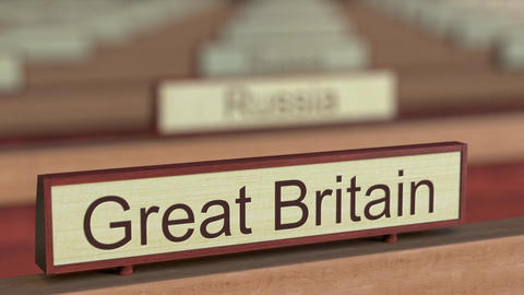 Great Britain name sign among different countries plaques at international Live Action