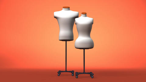 Display Mannequins On Brown Background, Stock Animation