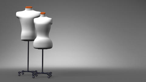 Display Mannequins On Gray Text Space Animation