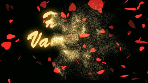 Happy Valentine's Day Gold Text. Valentine's day abstract background,flying Footage