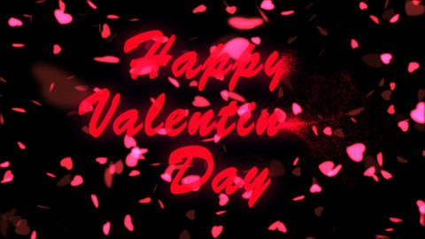 Happy Valentine's Day Red Text. Valentine's day abstract background,flying Footage