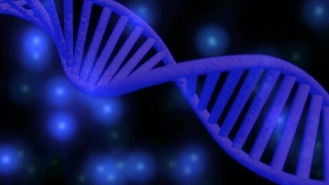 3D DNA chain rotation abstract on blue background. Rotating strand of DNA Image