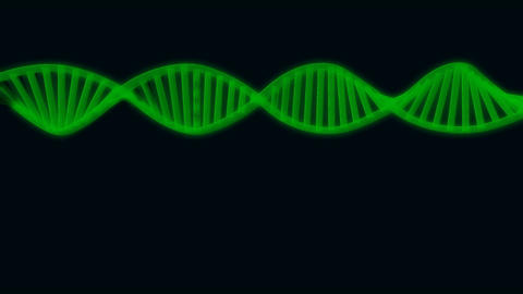 3D semitransparent green DNA chain rotation abstract on blue background Footage