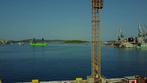PULA, CROATIA - AUGUST 4, 2017. Aerial view of a tower crane at the seaport Footage