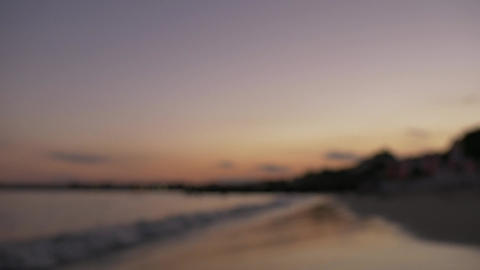 Sunset landscape at the beach out of focus effect Footage
