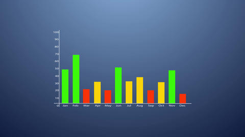 Bar graph with arrows axis. Grow, chart, statistic, business concept. Animation Animación