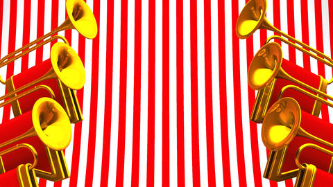 Fanfare On Red White Background CG動画