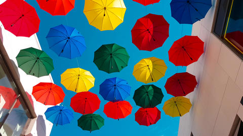 Street Decorated With Colored Umbrellas 画像
