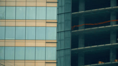 Details of a modern office skysraper under construction Live Action