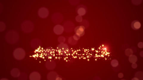Glowing Christmas Tree Over Red Holiday Background Stock Video Footage