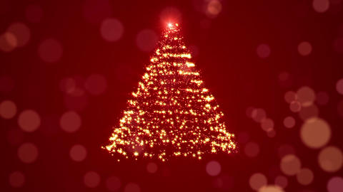 Glowing Christmas Tree Over Red Holiday Background Animation